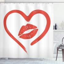 """Ambesonne Kiss Shower Curtain, Heart Drawn in Lipstick and Woman Lip Romance Passion and Tenderness Message, Cloth Fabric Bathroom Decor Set with Hooks, 70"""" Long, White Vermilion"""