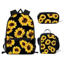 chaqlin Sunflower Backpack Set for Kids Girls 3 Piece School Bag with Pencil Case Womens Thermal Lunch Box