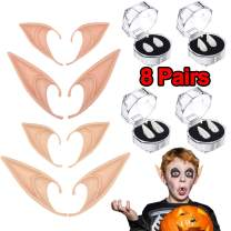 8 Pairs Halloween Party Cosplay Props Decoration 4 Vampire Teeth Fangs +4 Elf Ears Fairy Pixie Costume Headwear Accessory for Halloween Party Supplies