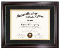 GraduationMall 11x14 Diploma Frame for 8.5x11 Document/Certificate with Black Over Gold Double Mat |Real Glass|Mahogany with Gold Beading