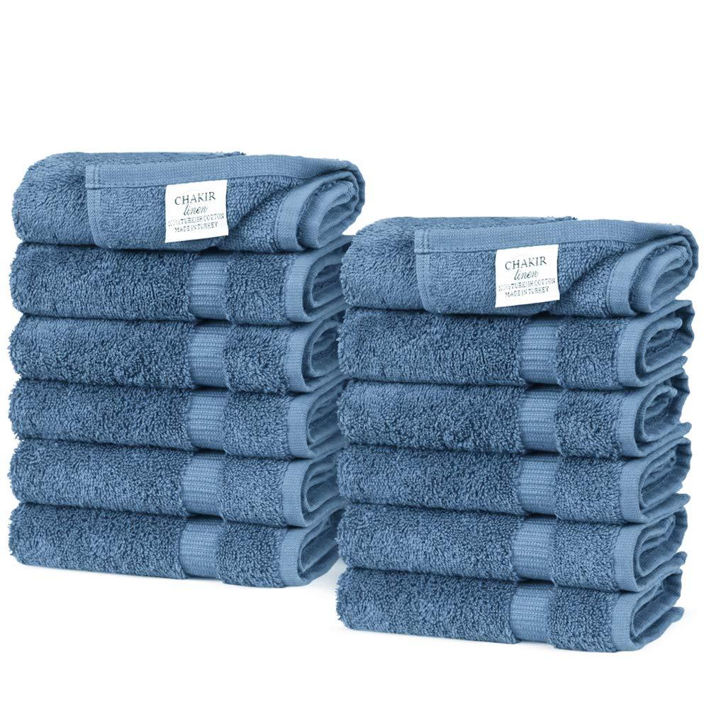 Chakir Turkish Linens Turkish Cotton Luxury Hotel & Spa Bath Towel, Wash Cloth - Set of 12, Wedgewood