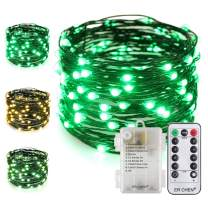 ER CHEN Battery Operated Fairy String Lights with Remote Timer, 33Ft 100 LED Color Changing 8 Modes Green Copper Wire Christmas Lights for Bedroom Indoor Outdoor Decor (Warm White & Green)