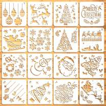 Moruska 16 Pcs Christmas Stencils Drawing Templates for Painting on Wood Cookies Window Glass Door Wall - Reusable Xmas Stencils Merry Christmas Three Reindeer Santa Claus Nativity Snowflakes
