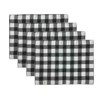 Aothpher Trellis Placemats Geometric Black & White Checked Square Table Place Mats Buffalo for Dining Table, 12x16 Inches, Double-Deck Set of 4