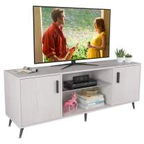 "65 "" Large TV Stand with Storage Cabinet, Wood Entertainment Center, Mid-Century Retro TV Console Table with Adjustable Shelves for Living Room Office Bedroom, White"