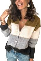 Alaster Women's V Neck Cardigan Sweater Casual Open Front Button Down Short Cardigan Long Sleeve Sweater Tops for Women