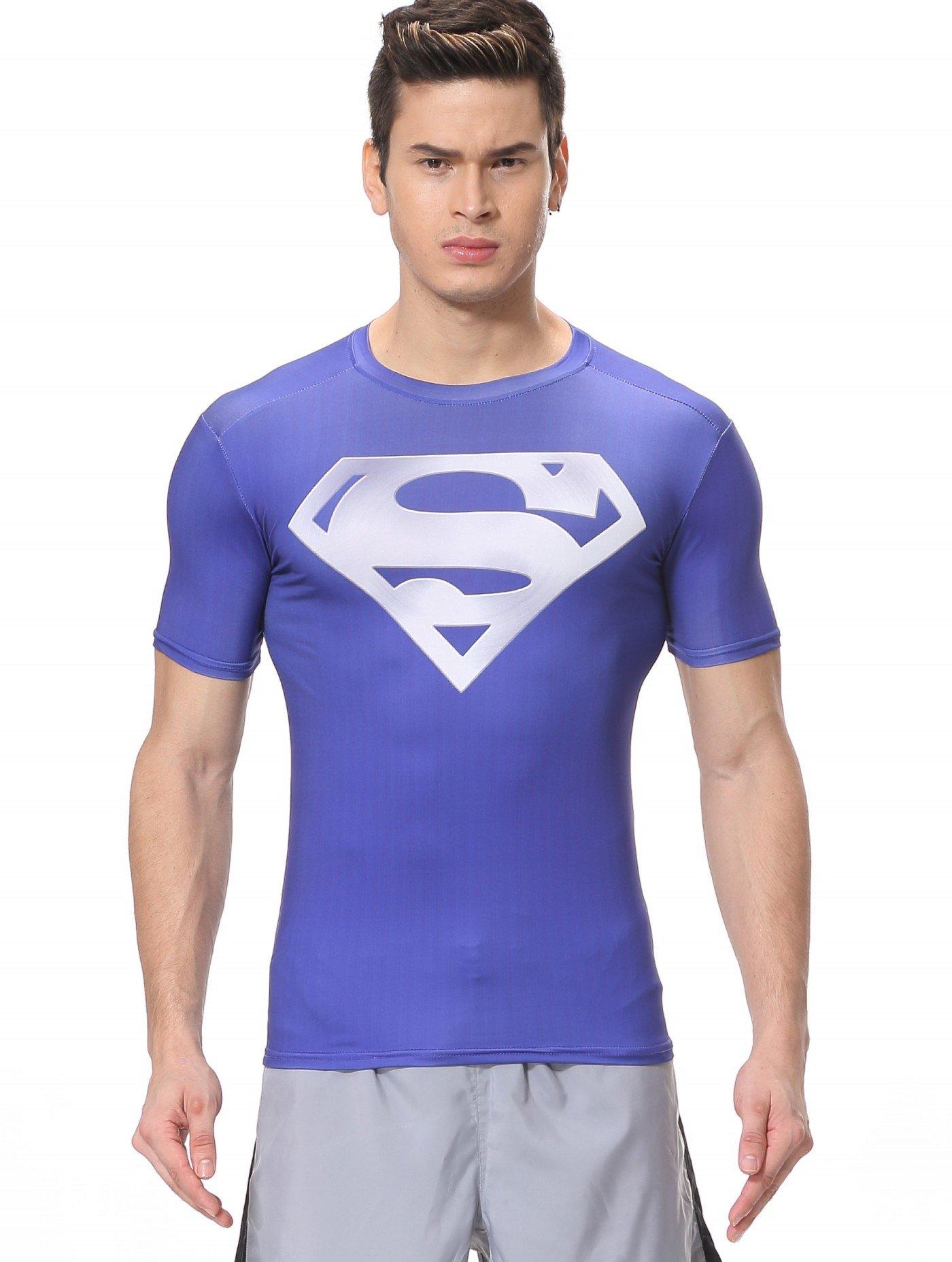 Red Plume Men's Compression Sport Fitness Gym Shirt,Short Sleeve S Logo T-Shirt