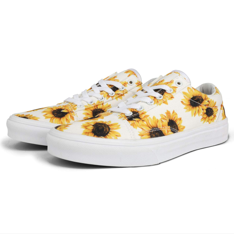 flySpacs Women's Sunflower Skate Shoes Casual Slip-On Fashion Sneaker Soft Non-Slip Comfortable Skateboarding Shoes