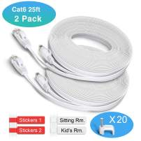Cat 6 Ethernet Patch Cable Flat 25ft(2 Packs With Nails and Labels),Fast than Cat5e/Cat5,Short Network Cat6 Cable,25 ft Slim Internet Cable Computer/Gaming Ethernet Cord Snagless RJ45 Connectors White