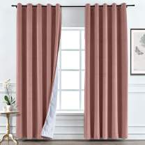 Macochico Coral Velvet Curtains for Bedroom Nickle Grommet Drapes with Blackout Lining for Living Room Meetingroom Club Theater 52 W x 63 L (1 Panel)