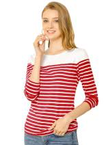 Allegra K Women's Long Sleeves Striped T Shirt Round Neck Cotton Causal Tops