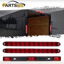 """Partsam 12V Led Van Trailer Lights Bar Kit, 2Pcs 15"""" Red Led Trailer Tail Light Bar Stop Turn Tail Brake Light Bar + 14.17"""" Truck Trailer Red Identification ID Light Strip Bar 3-Lamp"""