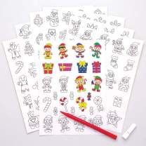 Baker Ross Self-Adhesive Foam Color-in Christmas Decoration Stickers / Kids Holiday Fun Arts & Crafts Project / No Glue or Scissors Needed / Pack of 200 Xmas Designs