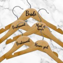 """Set of 5 Vinyl Art Decals - Bride Bridesmaid Maid of Honor Flower Girl - from 1.5"""" to 5"""" Each - Modern Cute Trendy Chic Wedding Bridal Bride Squad Hangers Quotes Decorations"""