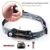 2 in 1 LED Headlamp Flashlight Combo, 150 Lumens, Ultralight Waterproof, 1.2oz,Compact, Full-metal body, for Running, Camping Hiking, Cycling, Kids,ONLY 1 AA battery req & Incl 1 Energizer AA.COLORDAY