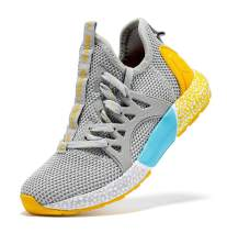JMFCHI Boys Girls Kids' Sneakers Knitted Mesh Sports Shoes Breathable Lightweight Running Shoes for Kids Fashion Athletic Casual Shoes
