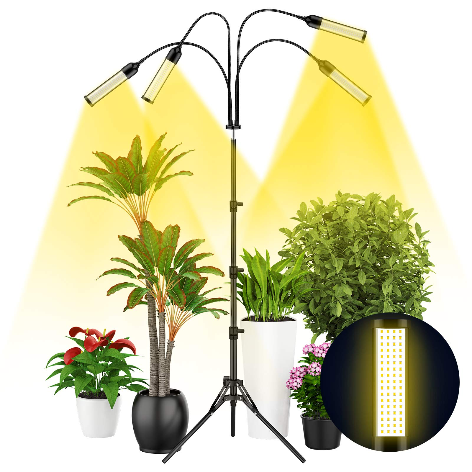 Grow Light with Tripod Stand, Balhvit 288PCS LED Grow Lights for Indoor Plants Full Spectrum with 3/6/12H Memory Timer & 6 Dimmable Levels, Sunlike Floor Plant Light for All Growth Stages