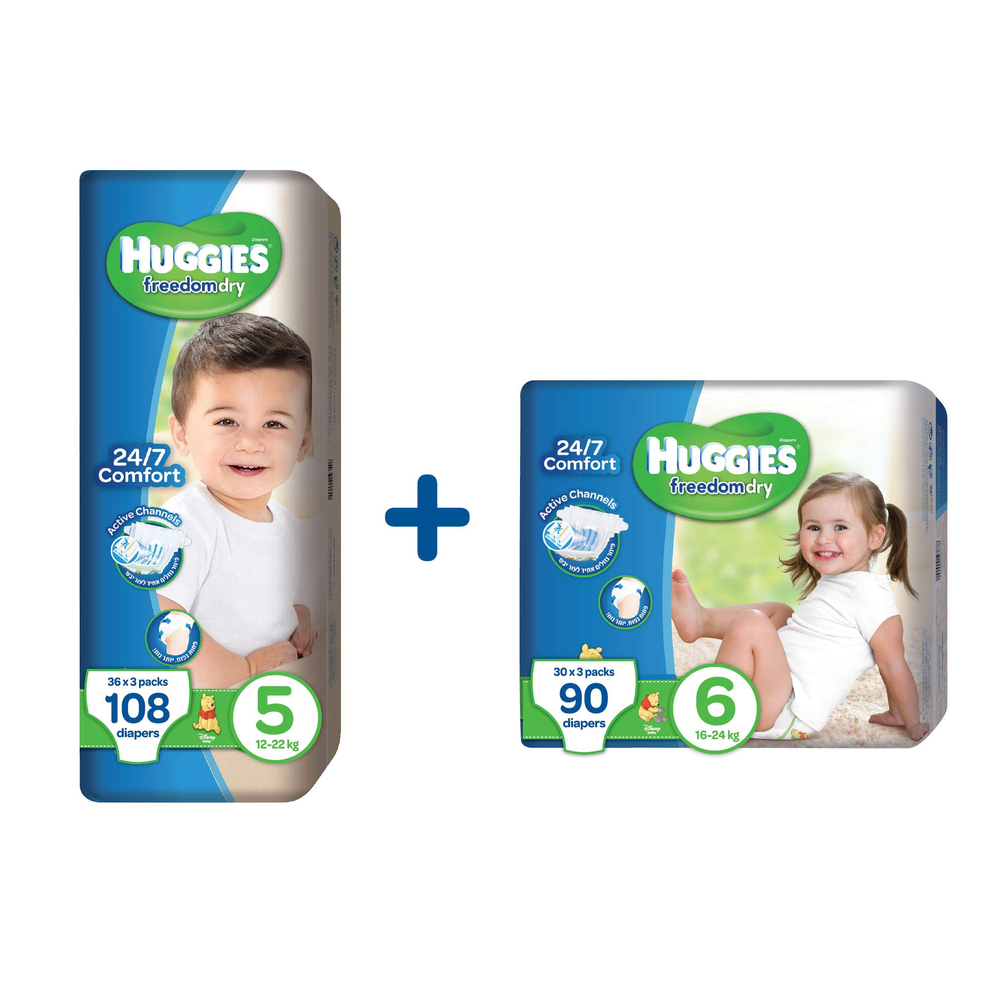 Huggies Freedom Dry Baby Diapers Size 5 (3 x 36 Units, 12-22 KG) + Size 6 (3 x 30 Units 16-24 KG), Total 198 Units (6 Pack Total)