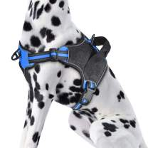 KORIMEFA No Pull Dog Harness, Reflective Vest Harness with 2 Leash Attachments Adjustable Reflective Oxford Outdoor Vest, Easy Control Handle for Small Medium Large Dog. (L, Blue)