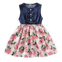 Toddler Girls Floral Dress Baby Denim Ruffled Fly Sleeve Top Sunflower Skirt One-Piece Clothing