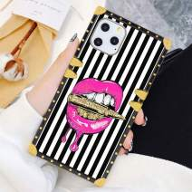 Square Case Compatible iPhone 11 Pro Max 2019 6.5 Inch Pink Lips in Bullet Luxury Elegant Soft TPU Full Body Shockproof Protective Case Metal Decoration Corner Back Cover iPhone 11 Pro Max Case
