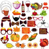 Kkonetoy Thanksgiving Fall Party Photo Booth Props Kit For Autumn Harvest Funny Turkey Thanksgiving Party Decorations Supplies-36 Count