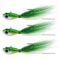 Shaddock Fishing Bucktail Jig Fluke Lures Saltwater Freshwater Fishing Baits Assorted Kit for Bass Striper Bluefish Surf Fishing Size 1/4-2ounce Pack of 3