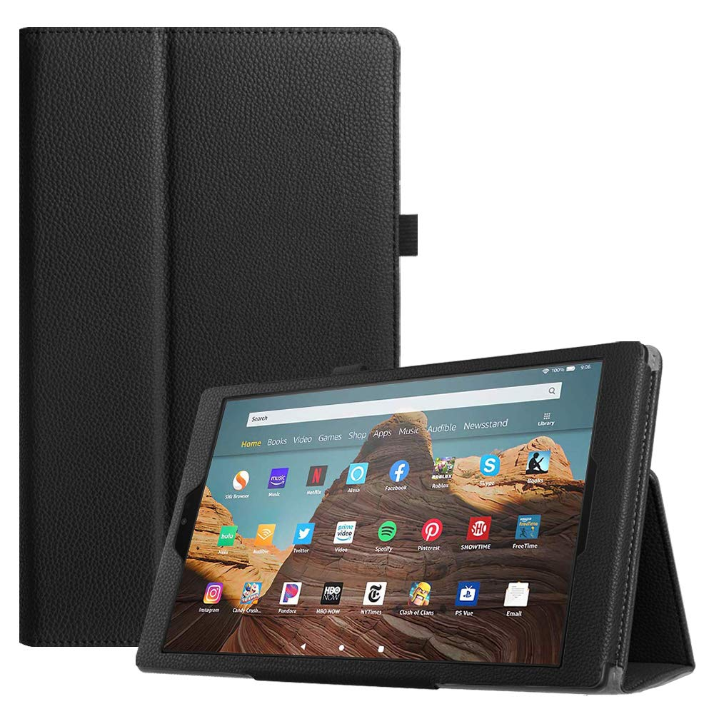Fintie Folio Case for All-New Amazon Fire HD 10 Tablet (Compatible with 7th and 9th Generations, 2017 and 2019 Releases) - Premium PU Leather Slim Fit Stand Cover with Auto Wake/Sleep, Black