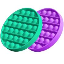 MOOLWEEL 2 Pcs Push pop Bubble Sensory Fidget Toy Autism Special Needs Stress Reliever Toys Silicone Gift for Kids ,Miniature Novelty Toys, Preschool Silicone Toy(Green, Purple)