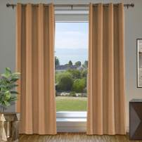 """cololeaf Blackout Linen Curtain Thermal Insulated Grommet Room Darkening Window Treatment Panel for Living Room Family Room Dining Romm Kidroom Library, Orange 84"""" W x 102"""" L Inch (1 Panel)"""