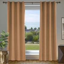 "cololeaf Blackout Linen Curtain Thermal Insulated Grommet Room Darkening Window Treatment Panel for Living Room Family Room Dining Romm Kidroom Library, Orange 84"" W x 102"" L Inch (1 Panel)"