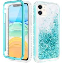 Caka Case for iPhone 11 Case Glitter Liquid Full Body Protection with Built in Screen Protector for Girls Women Girly Diamond Floating Quicksand Bling Protective Case for iPhone 11 6.1 inches (Teal)