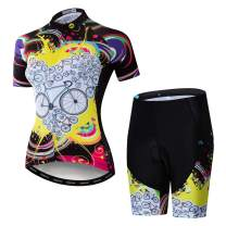 Women's Cycling Jersey Short Sleeve with Padded Shorts Quick-Dry Shirts Bike Clothes Set
