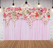 Qian 9x6ft Pink Flower Photography Background Rose Photo Backdrops Studio Props Birthday Wedding Decoration Vinyl