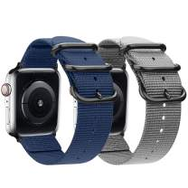 nylon Band Compatible with Apple Watch Band 44mm 42mm 40mm 38mm, Lightweight Breathable Woven Nylon Sport Wrist Strap with Metal Buckle Compatible 5/4/3/2/1 (11-Navy blue/Gray, 38mm/40mm)