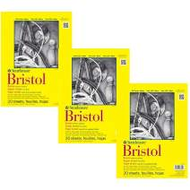 "Strathmore 342-109 300 Series Bristol Vellum Pad, 9""x12"" Tape Bound, 20 Sheets (3 Pack)"