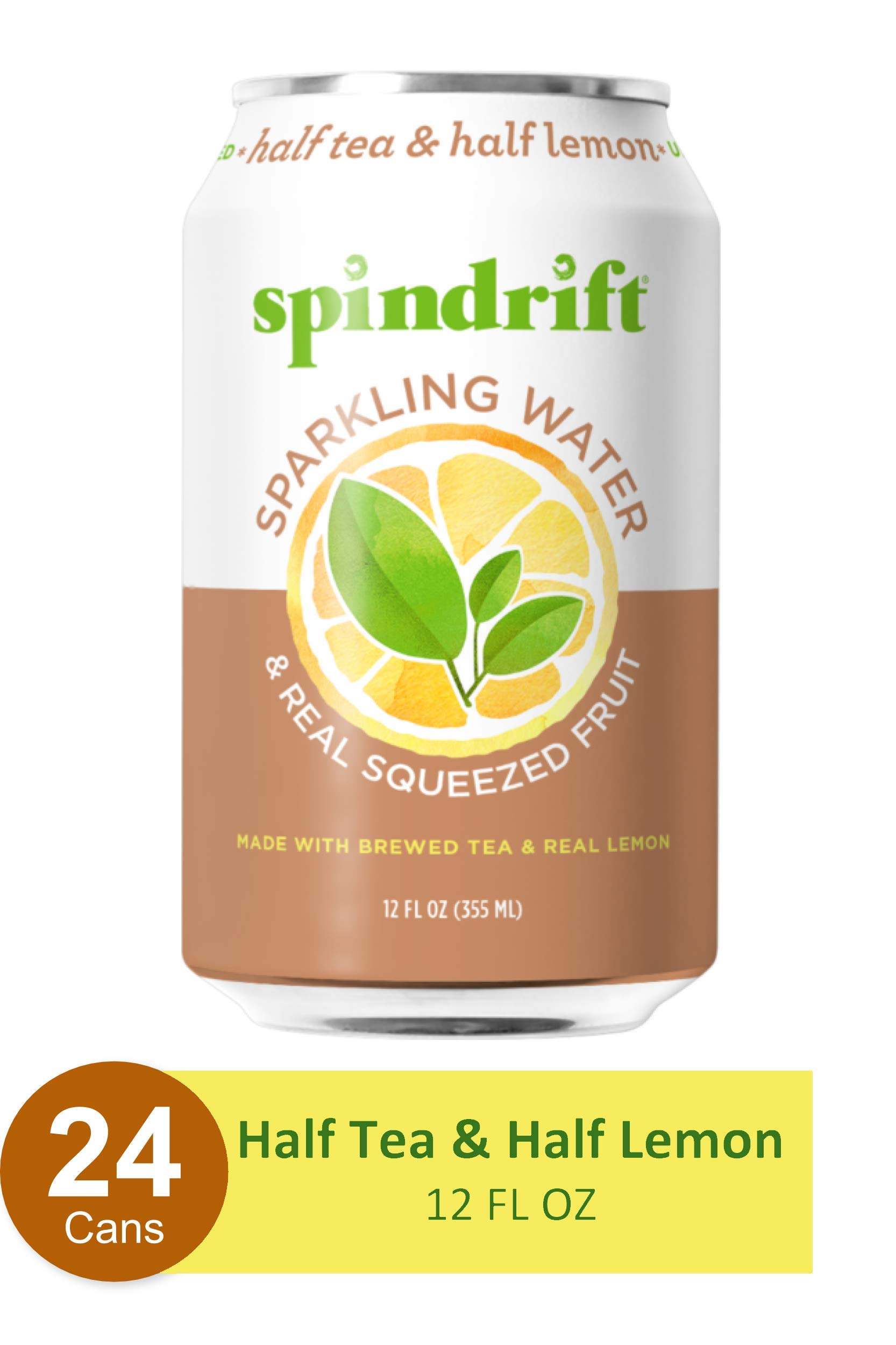Spindrift Sparkling Water,  Half Tea & Half Lemon Flavored, Made with Real Squeezed Fruit, 12 Fl Oz Cans, Pack of 24 (Only 5 Calories per Seltzer Water Can)