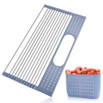 BOWINR Over The Sink Dish Drying Rack with Utensil Holder 17.4'' x 11'' Roll-up Dish Drainer Multipurpose Foldable Stainless Steel Two Size Fit All Kitchen Sink (Small)