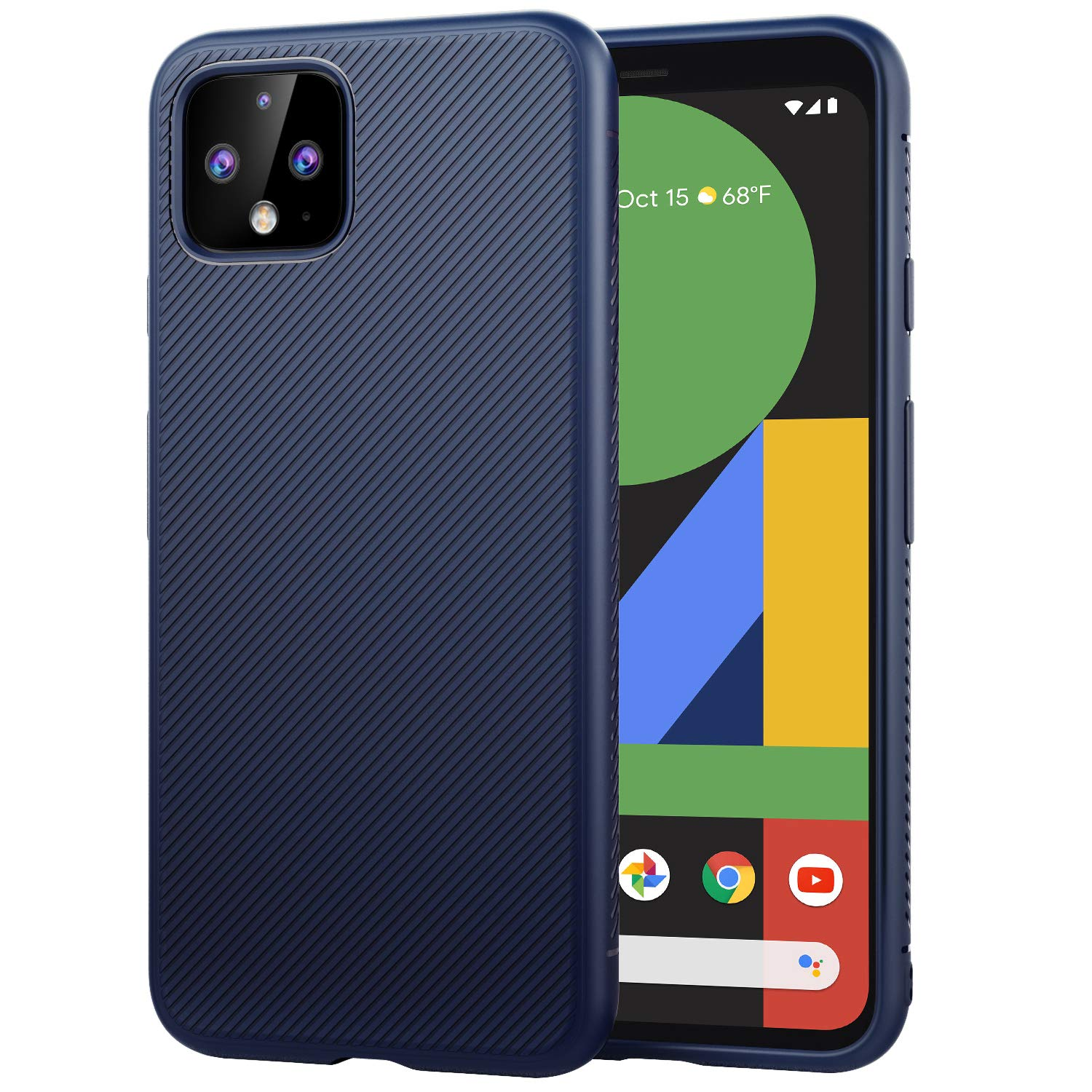 MoKo Compatible with Google Pixel 4 Case, Lightweight Shockproof Protective Phone Case, TPU Bumper Edge Twill Phone Cover for Google Pixel 4 5.7 inch 2019 - Blue