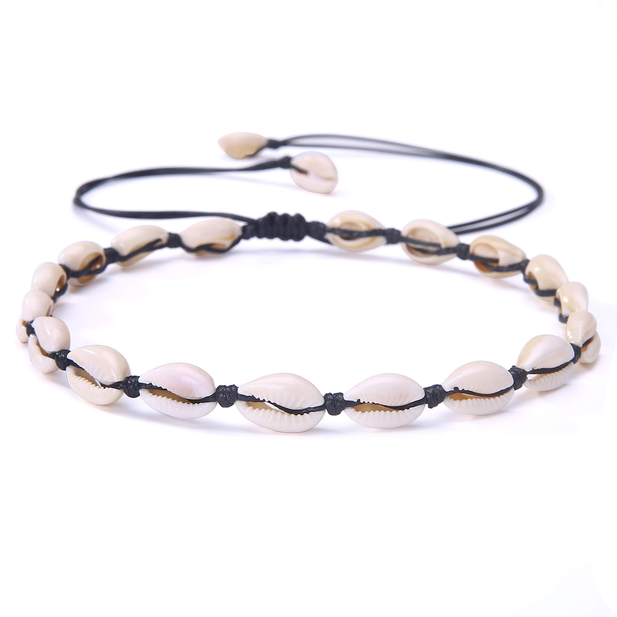 Natural Shell Choker Necklace Adjustable Hawaii Wakiki Beach Beads Cowrie Handmade Pearl Boho Jewelry for Women Girls