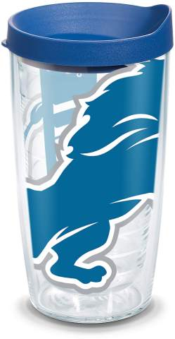 Tervis NFL Detroit Lions Colossal Tumbler with Wrap and Blue Lid 16oz, Clear