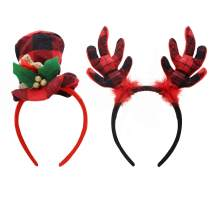 2 Pcs Christmas Reindeer Elf Fabri Headbands Different Designs for Christmas Holiday Lumberjack theme Parties Favors (ONE SIZE FITS ALL)