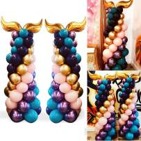 Amycute 107 PCS Mermaid Balloons Column Kit,2019 New Design,12 Inch Latex Pastel Color Balloons, Birthday Party,Wedding Balloon Arch Kit,Sea Party,Baby Shower Decorations Supplies