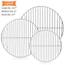 "E-far Round Cooling Cooking Racks - Size 7½"" & 9"" & 10½"" - Stainless Steel Round Steaming Baking Rack Set of 3, Multi-Purpose for Canning Air Fryer Instant Pot Pressure Cooker, Dishwasher Safe"
