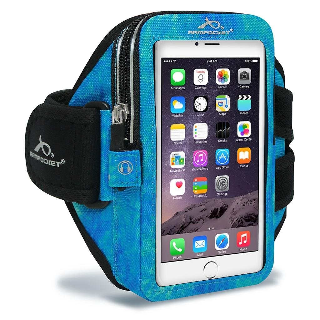 Armpocket Mega i-40 Armband, Arctic Blue, Small Strap for iPhone 11, 11 Pro, XS, XR, X, 8, Galaxy Note 10, S10, S10e, S9+, Pixel 3, 2 and Pixel 2 XL, XL or Phones and Cases up to 6.5 Inches