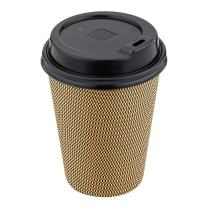 """Black Plastic Coffee Cup Lid - Fits 8, 12 and 16 oz - 3 1/2"""" x 3 1/2"""" x 1"""" - 25 count box - Restaurantware"""