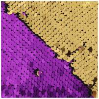 Sequin Fabric 1 Yard Mermaid Fabric Flip Up Sequin Fabric by The Yard Reversible Sparkly Stretch Fabric Sold The Yard Dress/Decor/Clothing (1 Yard, Purple to Gold)