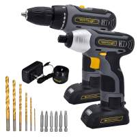 """Werktough 17pcs Cordless Drill Driver Impact Screwdriver 1/4"""" Combo Kit 2 Lion BatterIies Tool Kit Home Improvement Tool Set Cordless Tools Home Repair With Fast Charger"""
