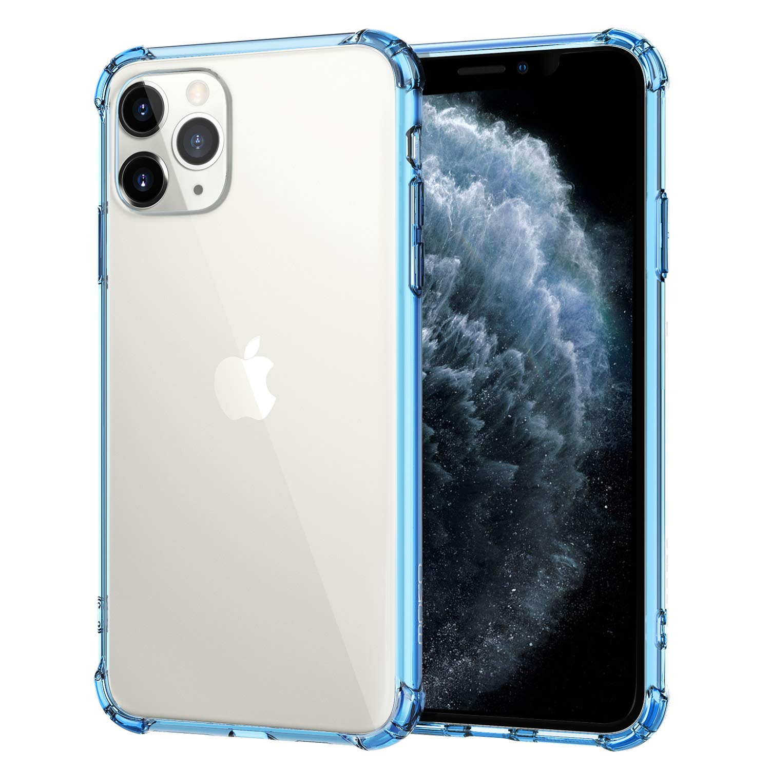 MoKo Compatible with iPhone 11 Pro Max Case, Reinforced Corner TPU Bumper + Anti-Yellow Transparent Hard Panel Cover Fit iPhone 11 Pro Max 6.5 inch 2019 - Clear Blue