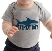 7 ate 9 Apparel Boy's Shark Birthday Onepiece